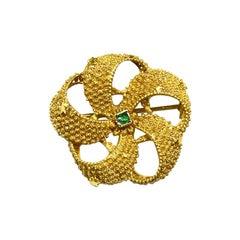 Vintage Georgian Handmade 22k Gold Catherine Wheel and Stars Brooch w. Emerald