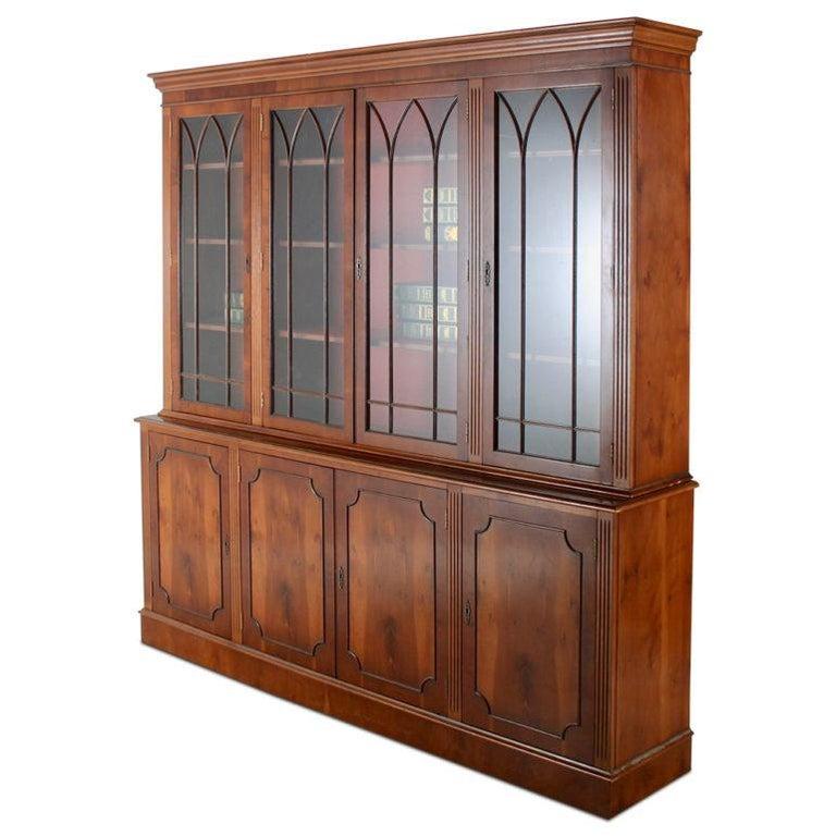 Mid-20th Century Vintage Georgian-Style Eight-Door Bookcase For Sale