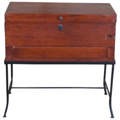Vintage Georgian Style Pine Box on Stand Side Accent Table Storage Chest Iron