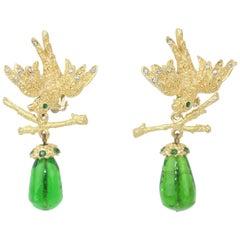 Vintage Gerard Yosca Gold Tone Bird Earrings With Green Glass