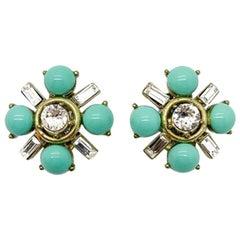 Vintage Gerard Yosca Turquoise & Crystal Earrings 1990Ss