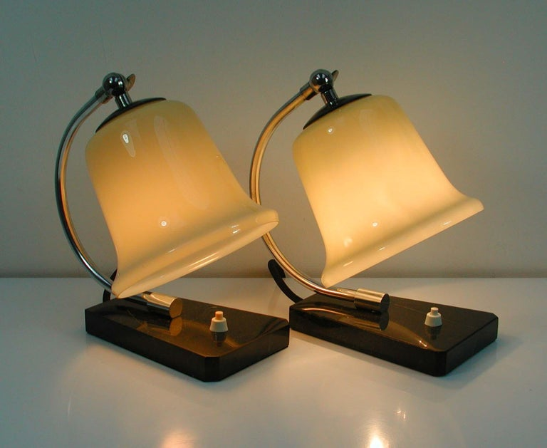 Vintage German Art Deco Bauhaus Marble, Chrome and Glass Table Lamps, 1930s For Sale 5