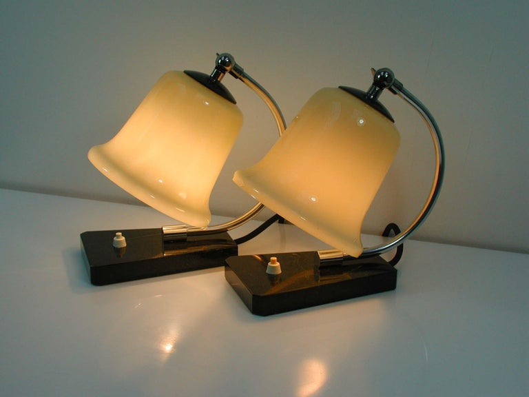 Vintage German Art Deco Bauhaus Marble, Chrome and Glass Table Lamps, 1930s For Sale 6