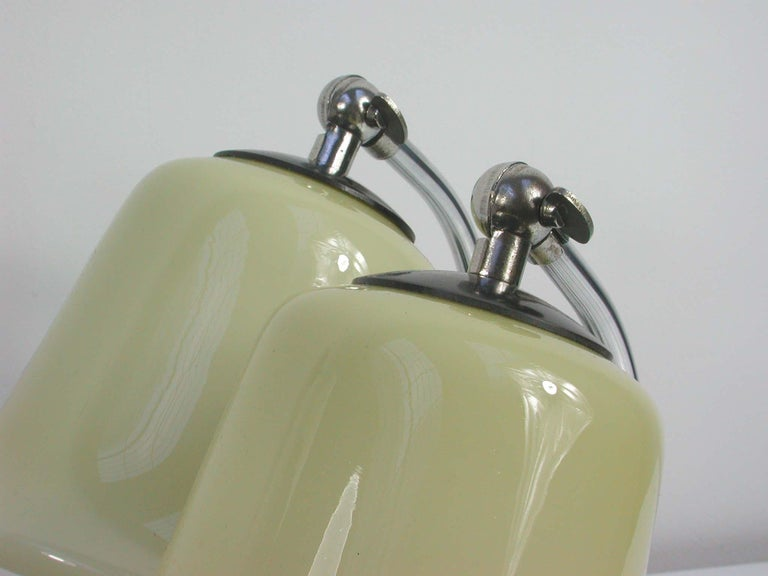 Vintage German Art Deco Bauhaus Marble, Chrome and Glass Table Lamps, 1930s In Good Condition For Sale In Nümbrecht, NRW