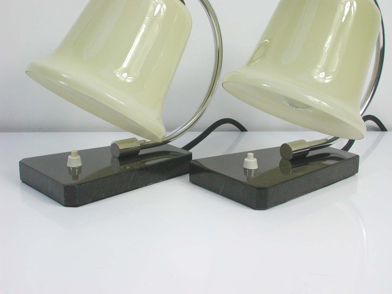 Mid-20th Century Vintage German Art Deco Bauhaus Marble, Chrome and Glass Table Lamps, 1930s For Sale