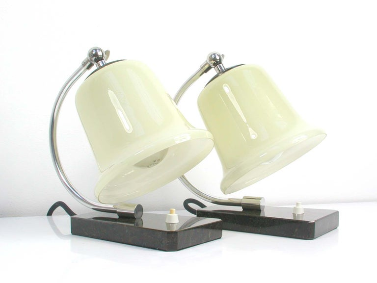 Opaline Glass Vintage German Art Deco Bauhaus Marble, Chrome and Glass Table Lamps, 1930s For Sale
