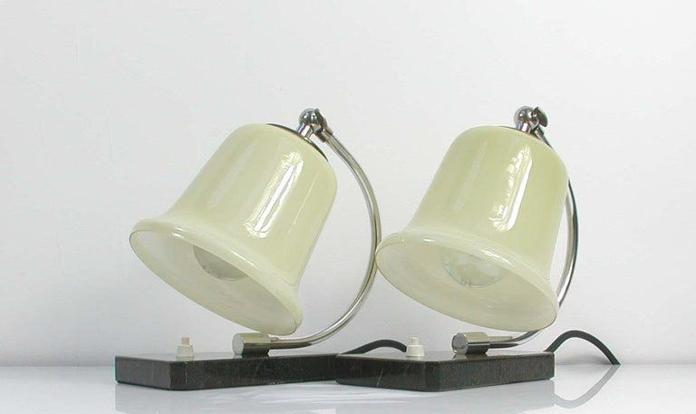 Vintage German Art Deco Bauhaus Marble, Chrome and Glass Table Lamps, 1930s For Sale 2
