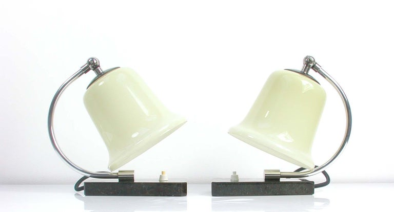 Vintage German Art Deco Bauhaus Marble, Chrome and Glass Table Lamps, 1930s For Sale 3