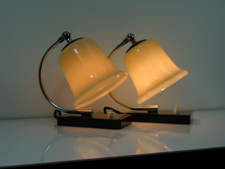 Vintage German Art Deco Bauhaus Marble, Chrome and Glass Table Lamps, 1930s For Sale 4