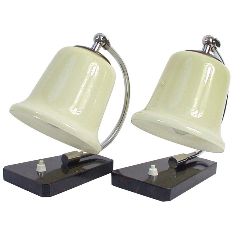 Vintage German Art Deco Bauhaus Marble, Chrome and Glass Table Lamps, 1930s For Sale