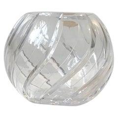 Vintage German Ball Vase in Cut Lead Crystal, 1950s
