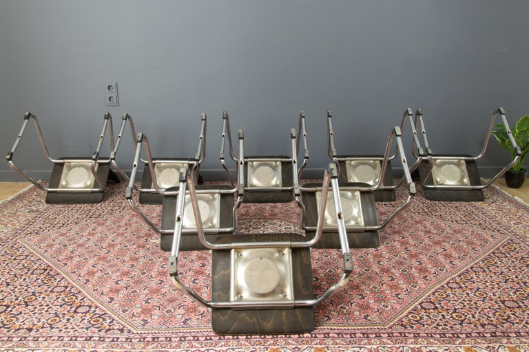 Vintage German Chairs by Elmar Flötotto for Pagholz Flötotto, 1970s, Set of 8 For Sale 5