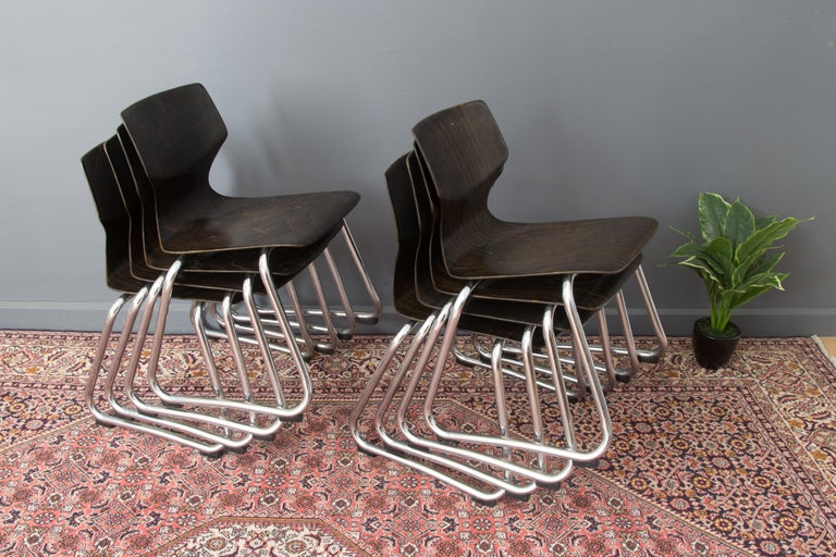 Vintage German Chairs by Elmar Flötotto for Pagholz Flötotto, 1970s, Set of 8 For Sale 6