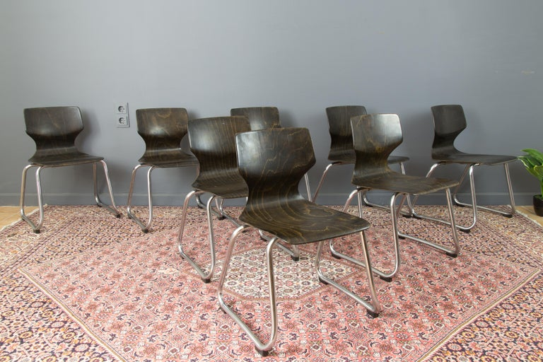 Vintage German Chairs by Elmar Flötotto for Pagholz Flötotto, 1970s, Set of 8 In Good Condition For Sale In Barntrup, DE