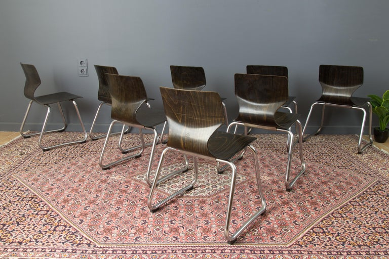 Metal Vintage German Chairs by Elmar Flötotto for Pagholz Flötotto, 1970s, Set of 8 For Sale