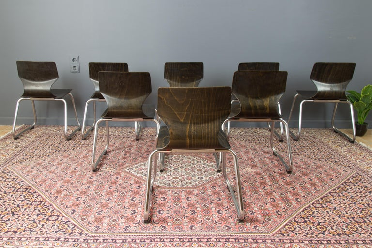 Vintage German Chairs by Elmar Flötotto for Pagholz Flötotto, 1970s, Set of 8 For Sale 1