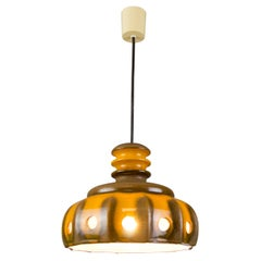 Vintage German Fat Lava Orange and Brown Ceramic Pendant Light, 1960s