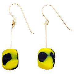 Vintage German Glass Bead Watercolor Earrings in Yellow
