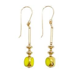Vintage German Glass Beads, Chartreuse Earrings