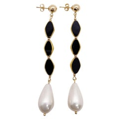 Vintage German Glass Beads edged with 24K gold, Black Trinity & Pearl Earrings