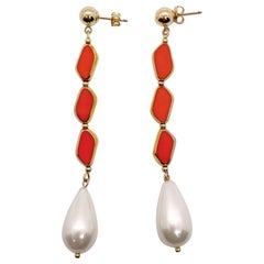 Vintage German Glass Beads edged with 24K gold, Marmalade Pearl Earrings