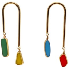 Vintage German Glass Beads edged with 24K gold Mismatch Multi-colored Earrings