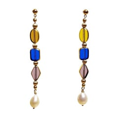 Vintage German Glass Beads edged with 24K gold on Pearls, The Gatsby Earrings