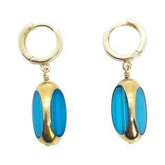 Vintage German Glass Beads, Large Blue Bean Earrings