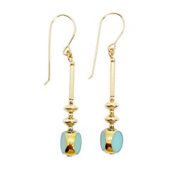 Vintage German Glass Beads, Sea Foam Blue Earrings