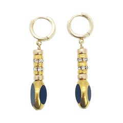 Vintage German Glass Beads, The Black Torpedo Earrings