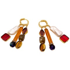 Vintage German Glass with gold, Pearls, Stones Earrings