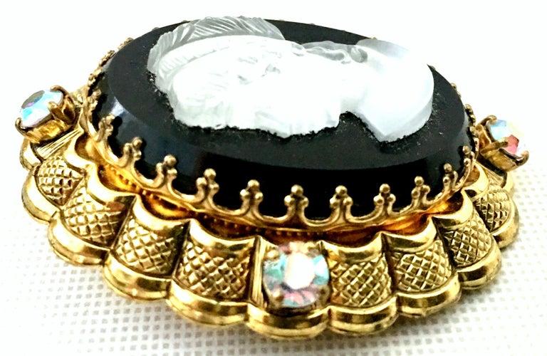 Vintage German Gold Filigree Carved Glass Cameo & Austrian Crystal Brooch For Sale 1
