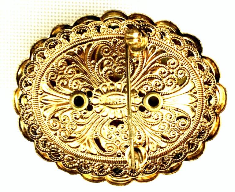 Vintage German Gold Filigree Carved Glass Cameo & Austrian Crystal Brooch For Sale 4