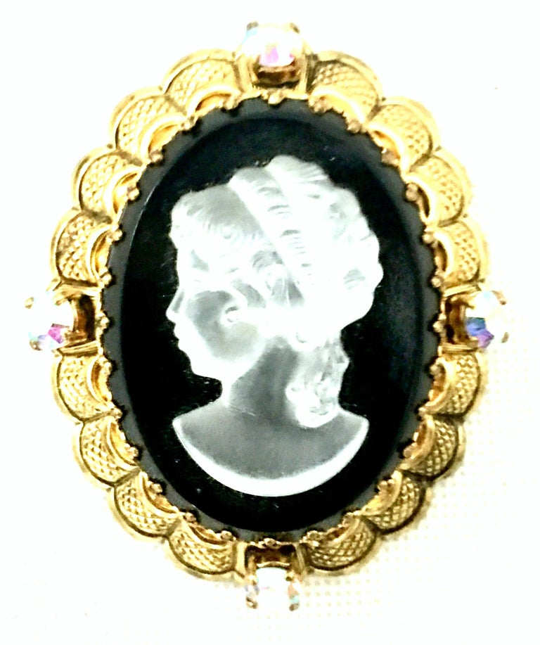 Victorian Vintage German Gold Filigree Carved Glass Cameo & Austrian Crystal Brooch For Sale
