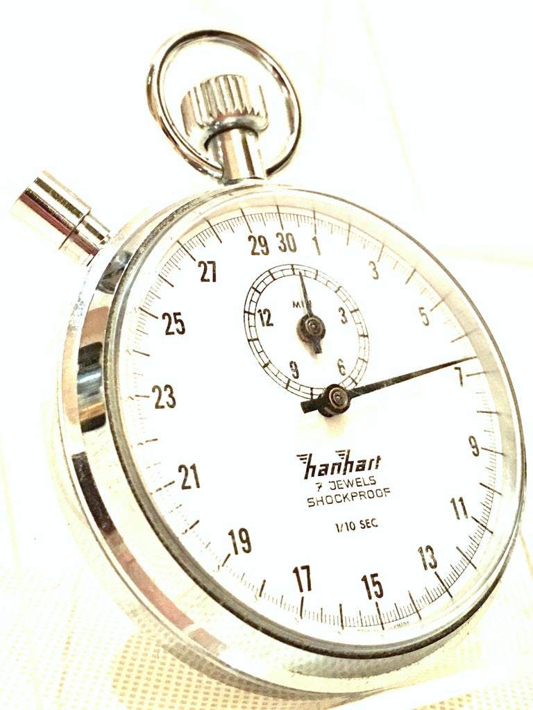 Vintage German Hanhart Chrome 7 Jewel 1/10 Second Stop Watch In Good Condition For Sale In West Palm Beach, FL