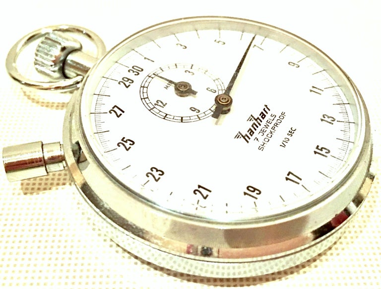Women's or Men's Vintage German Hanhart Chrome 7 Jewel 1/10 Second Stop Watch For Sale