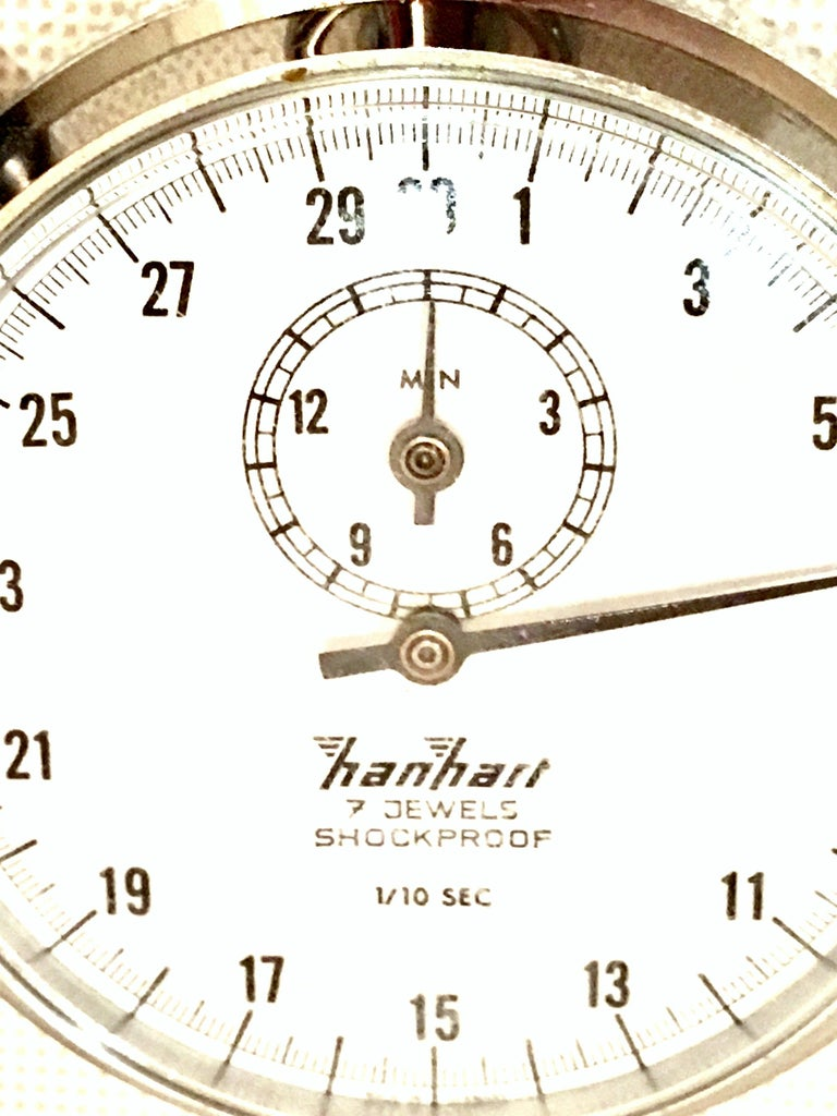 Vintage German Hanhart Chrome 7 Jewel 1/10 Second Stop Watch For Sale 2