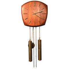 Vintage German Junghans Pendulum Wall Clock in Teak and Brass