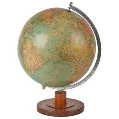 Vintage German Made Globe, Globe Terrestre Wooden Base