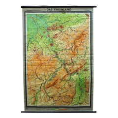 Vintage German Map Rhineland Rollable Wall Chart Poster Print