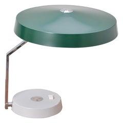 Vintage Green German Mid-Century Modern Metal desk lamp with flexible shade