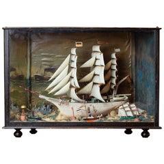 Vintage German Sailing Ship Handmade Diorama, circa 1940