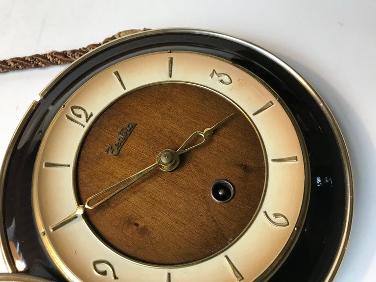 Bauhaus Vintage German Suspended Wall Clock with Manuel Movement, Zentra, 1950s For Sale