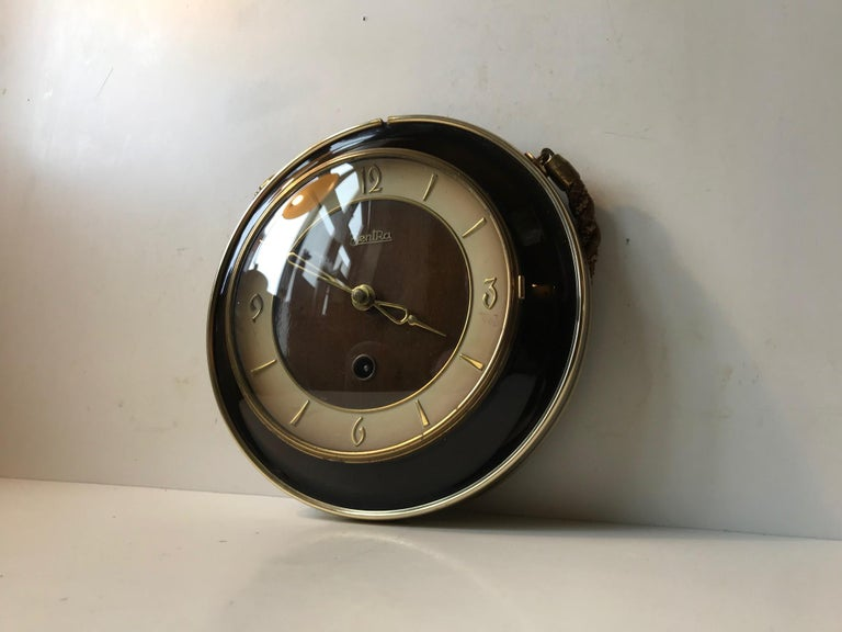 Vintage German Suspended Wall Clock with Manuel Movement, Zentra, 1950s For Sale 1