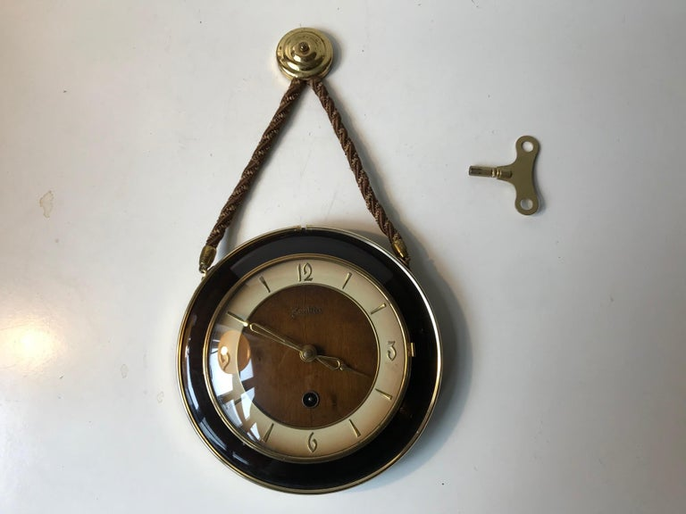 Vintage German Suspended Wall Clock with Manuel Movement, Zentra, 1950s For Sale 2