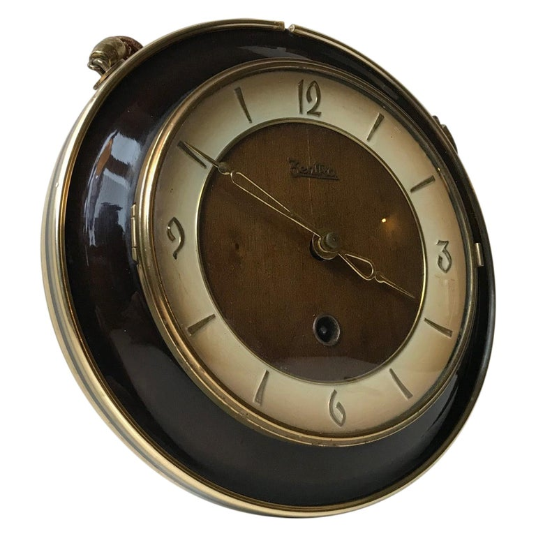 Vintage German Suspended Wall Clock with Manuel Movement, Zentra, 1950s For Sale