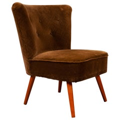 Vintage German Velvet Cocktail Chair, 1960s