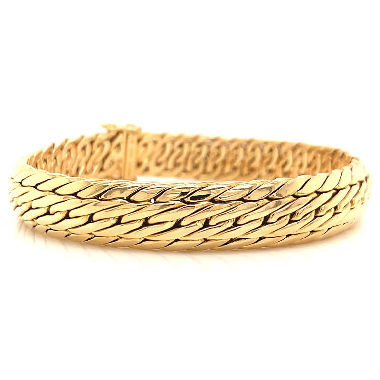 Vintage Germany Tiffany & Co. 18K Gold Woven Bracelet In Excellent Condition In Beverly Hills, CA