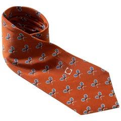Vintage Gherardini 100% silk tie with small rackets
