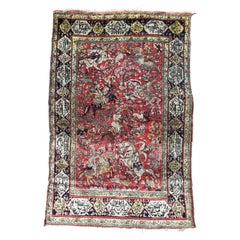 Vintage Ghoum Style Silk Rug
